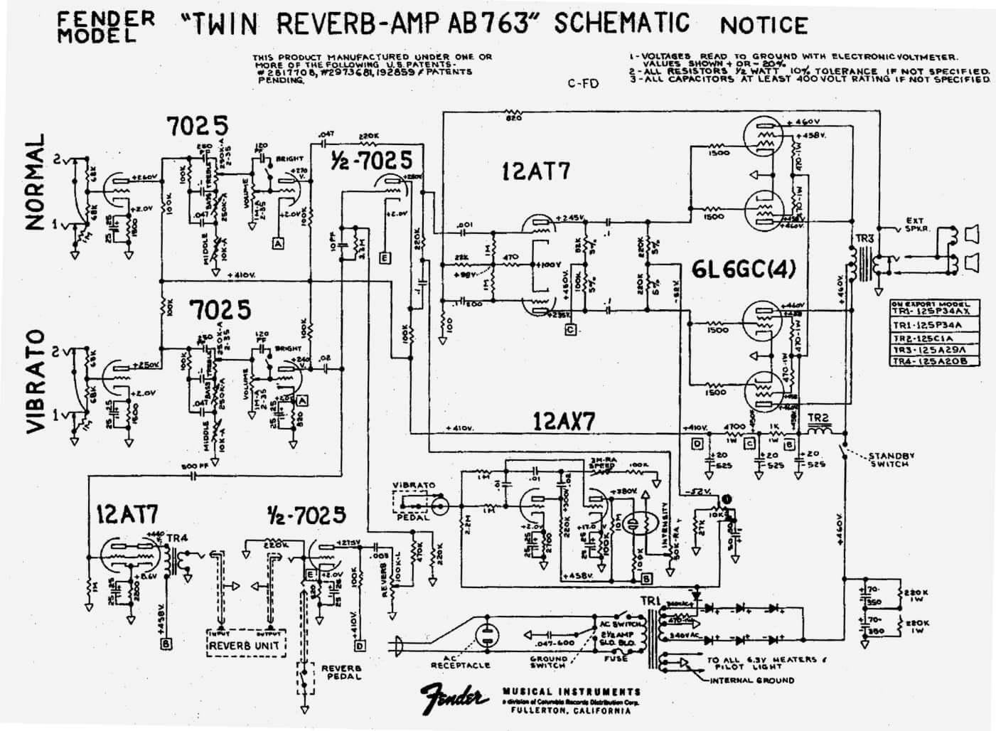 fender amp schematics fender pickup wiring diagram fender twin reverb ab763 schematic
